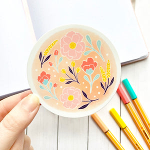 Pink Watercolor Floral Circle Sticker, 3x3 in.