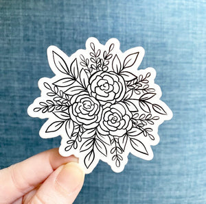 Line Drawn Rose Bouquet Sticker, 3x3 in.