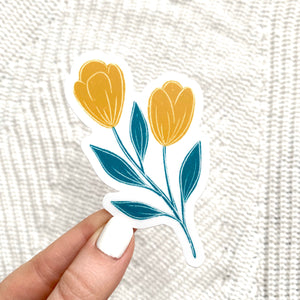 Yellow and Blue Tulip Sticker, 3x3 in.