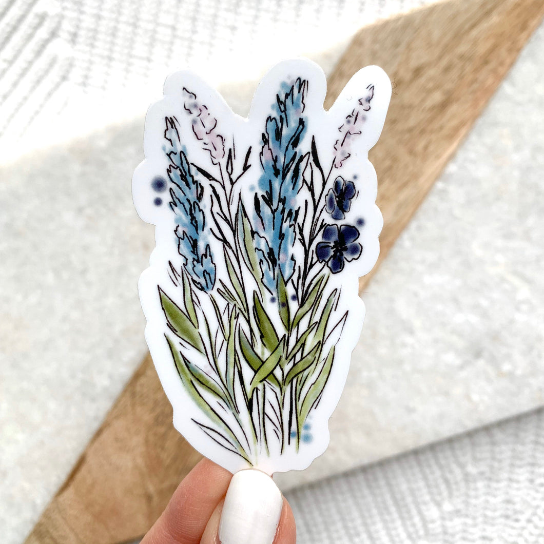 Blue and Purple Watercolor Floral Stems Stickers, 3x2 in.