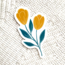 Load image into Gallery viewer, Yellow and Blue Tulip Sticker, 3x3 in.