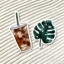 Load image into Gallery viewer, Watercolor Iced Coffee Sticker, 4x2 in.