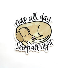Load image into Gallery viewer, Nap All Day, Sleep All Night Dog Sticker, 3x3 in.