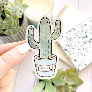 Watercolor Cactus with Blue Pot Sticker, 3x2 in.