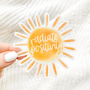 Radiate Positivity Watercolor Sun Sticker, 3x3 in.