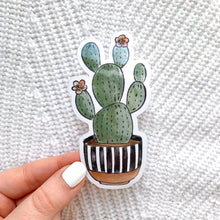 Load image into Gallery viewer, Striped Planter Cactus Sticker, 4x2 in.