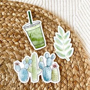Iced Matcha Green Tea Latte Sticker, 4x2 in.