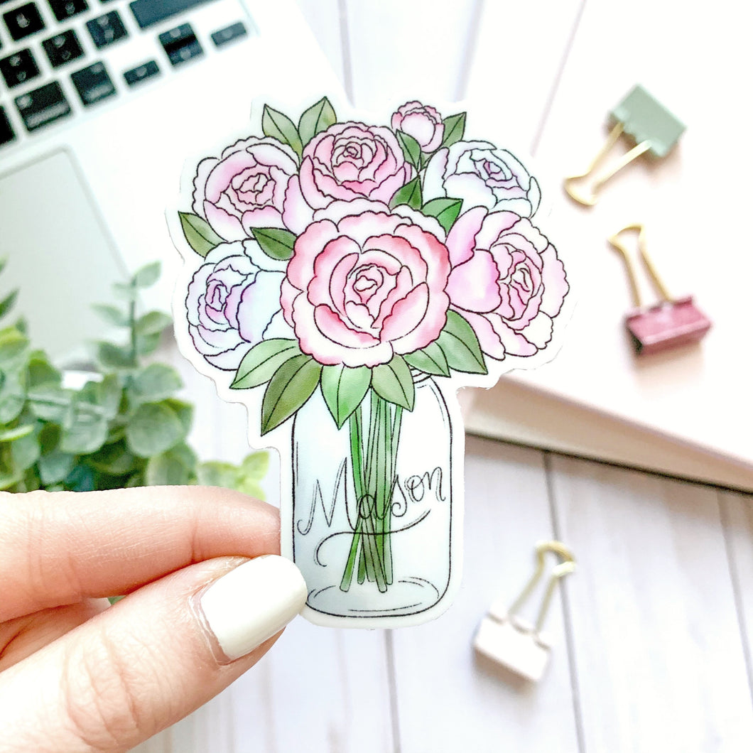 Mason Jar Peonies Watercolor Sticker, 3.5x3in.