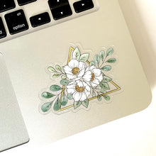 Load image into Gallery viewer, Clear Gold Triangle Floral Sticker, 3x3 in.