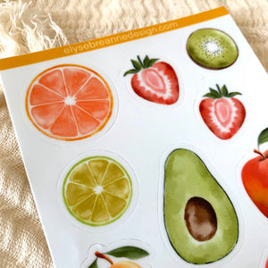 Watercolor Fruit Stickers Sheet 4x6 in.