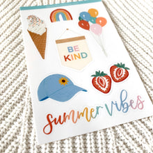Load image into Gallery viewer, Summer Vibes Sticker Sheet, 4x6in.