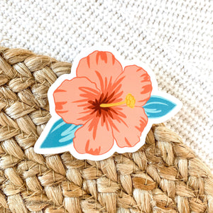 Hibiscus Flower Sticker, 3x3 in.