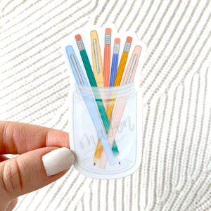 Pens and Pencils Mason Jar Sticker, 3x2 in.