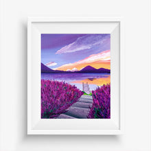Load image into Gallery viewer, Lavender Lake Landscape Painting  Art Print