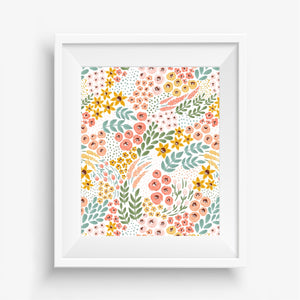 White Wildflowers Art Print
