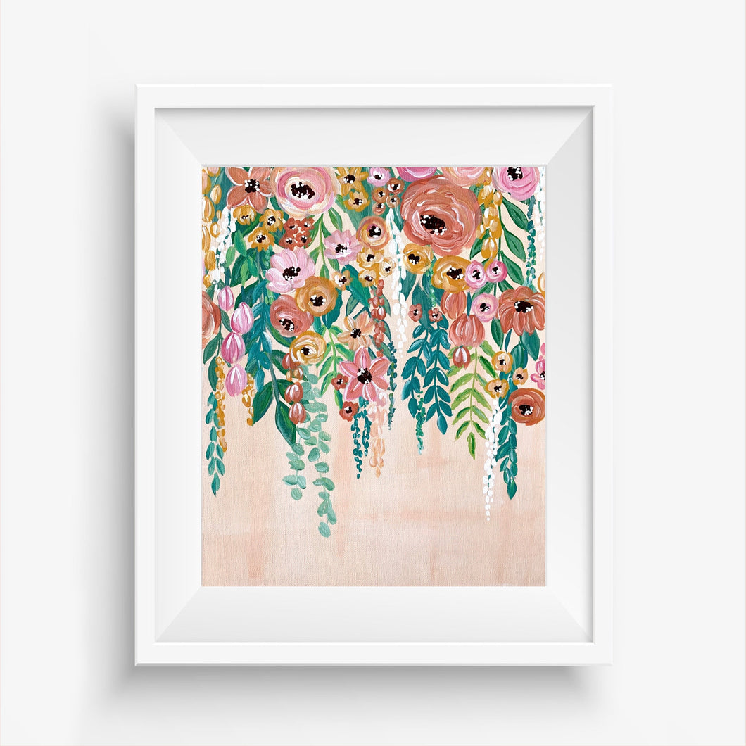 Hanging Florals Painting Art Print