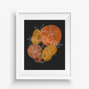 Watercolor Floral Geo Bouquet Art Print