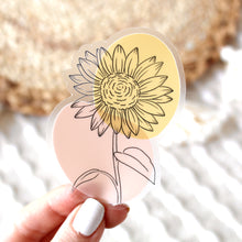 Load image into Gallery viewer, Clear Sunflower Sticker, 3x3 in.
