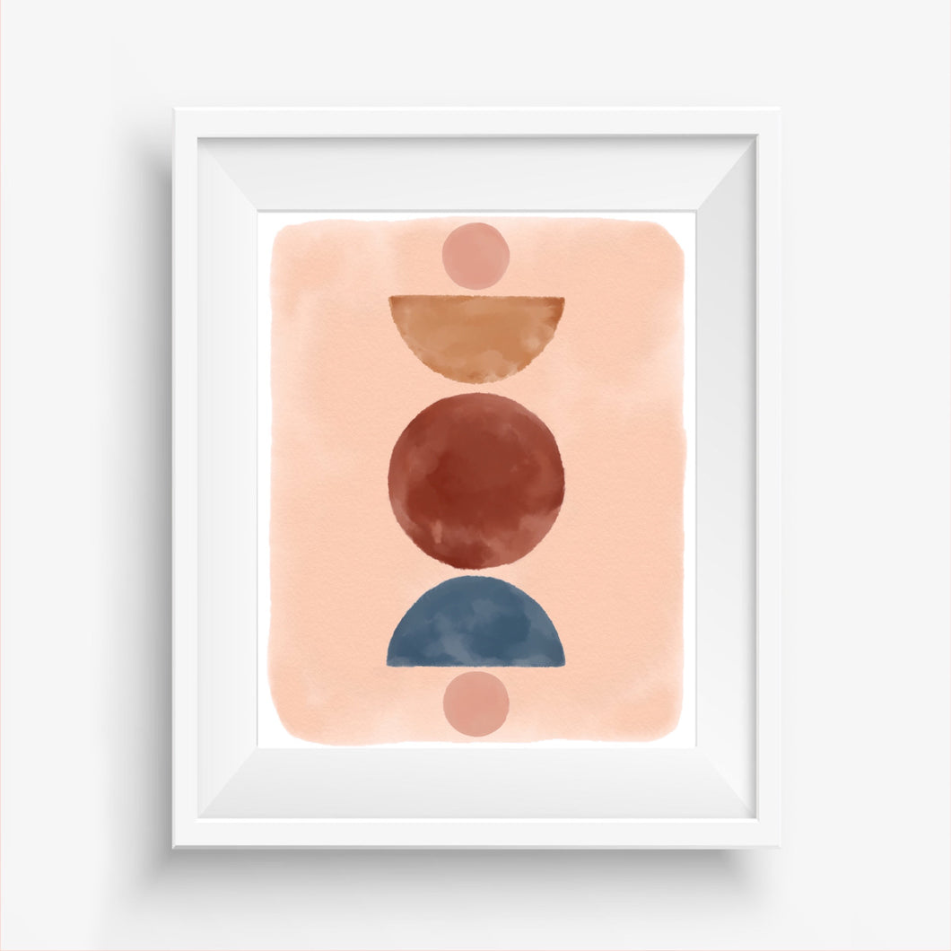 Watercolor Geo Abstract Art Print