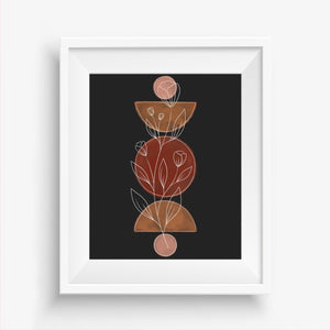 Watercolor Floral Geo Art Print