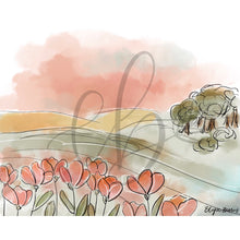 Load image into Gallery viewer, Poppy Field Watercolor Landscape Art Print