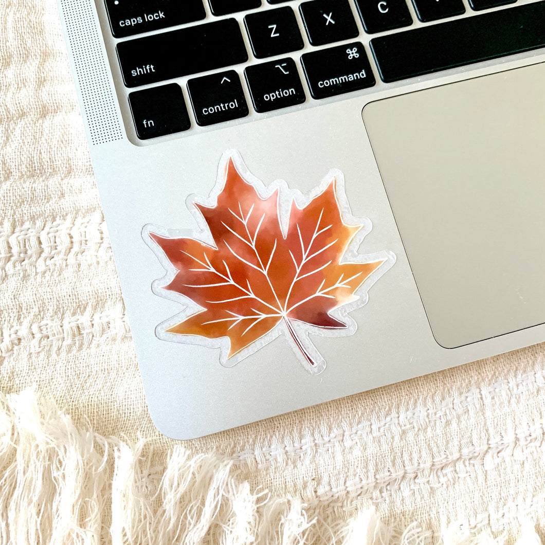 Clear Fall Maple Leaf Sticker, 3x3 in.