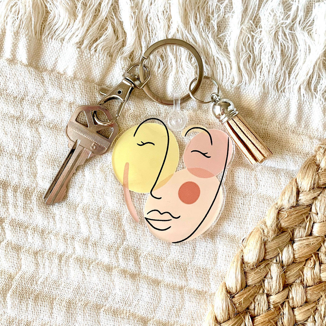 Abstract Face Keychain 2.3x2.3in.