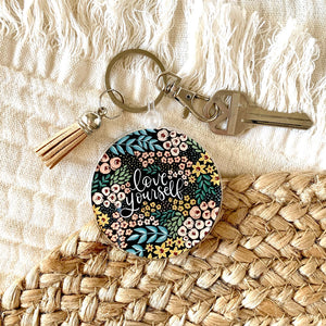 Love Yourself Floral Keychain 2.5x2.5in.
