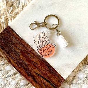 Pink Leaves Keychain 2.3x2.3in.