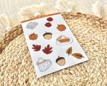 Load image into Gallery viewer, Fall Sticker Sheet 4x6 in., 6 Waterproof Vinyl Stickers