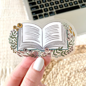 Clear Floral Book Sticker, 3x2 in.