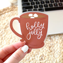 Load image into Gallery viewer, Clear Holly Jolly Hot Chocolate Mug Sticker, 3x3 in.