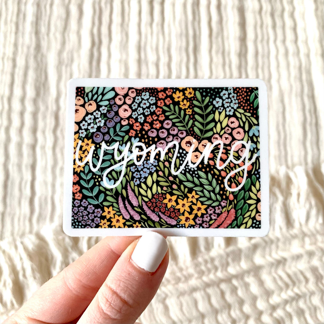 Wyoming Floral State Sticker, 3x3 in.