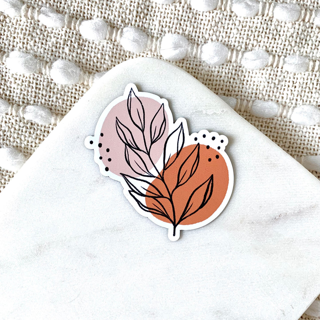 Pink Leaves Magnet, 3x3 in.