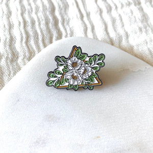 Floral Triangle Enamel Pin 1x1in.