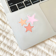 Load image into Gallery viewer, Clear Pink Stars Sticker, 2x2in.