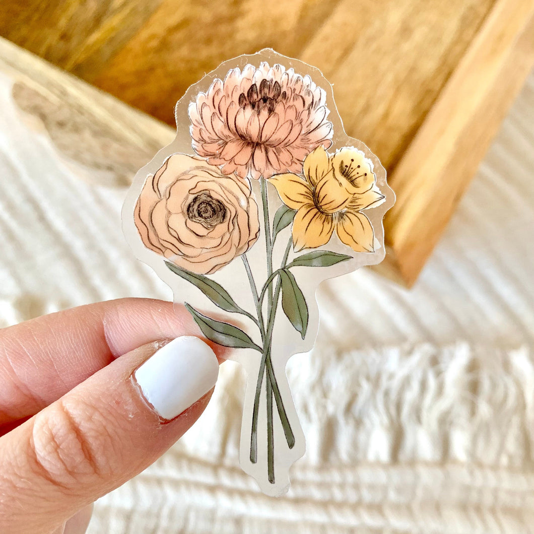 Clear Daffodil and Chrysanthemum Sticker, 3x2 in.