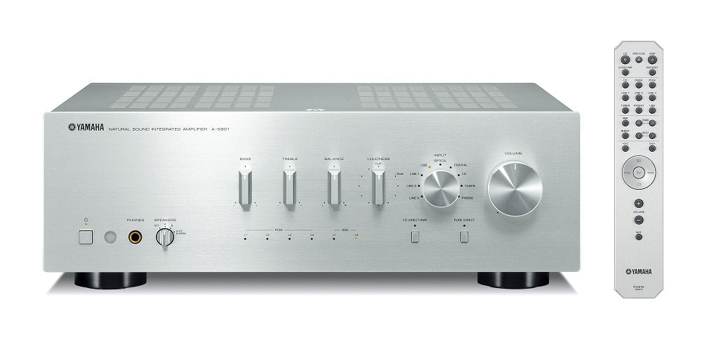 Yamaha A-S801S/2 ch integrated amplifier/silver/front view with remote control/SONXPLUS BAX audio video