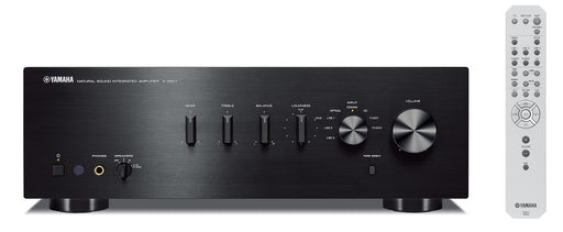 Yamaha A-S501B/2 ch integrated amplifier/black/front view with remote control/SONXPLUS BAX audio video