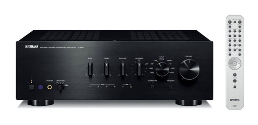 Yamaha A-S801B/2 ch integrated amplifier/black/front view with remote control/SONXPLUS BAX audio video