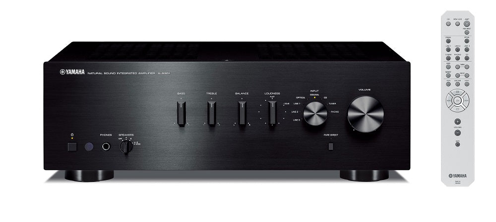 Yamaha A-S301B32 ch amplifier/black/front view with remote control/SONXPLUS BAX audio video