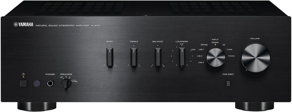 Yamaha A-S301B32 ch amplifier/black/front view/SONXPLUS BAX audio video