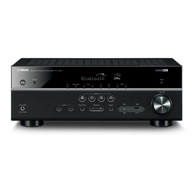 Yamaha RX-V385/5.1 ch AV receiver/black/front view/SONXPLUS BAX audio video