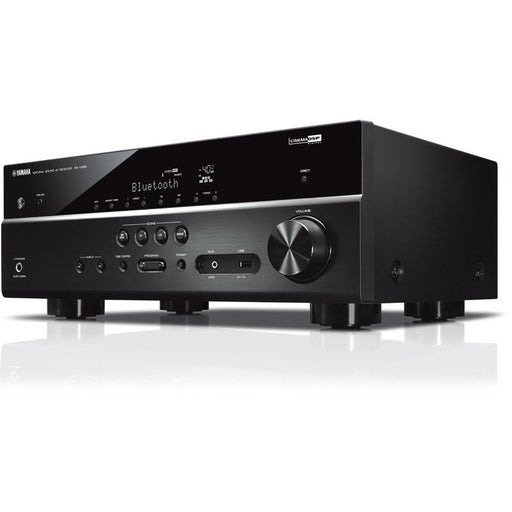 Yamaha RX-V385/5.1 ch AV receiver/black/right diagonal front view/SONXPLUS BAX audio video