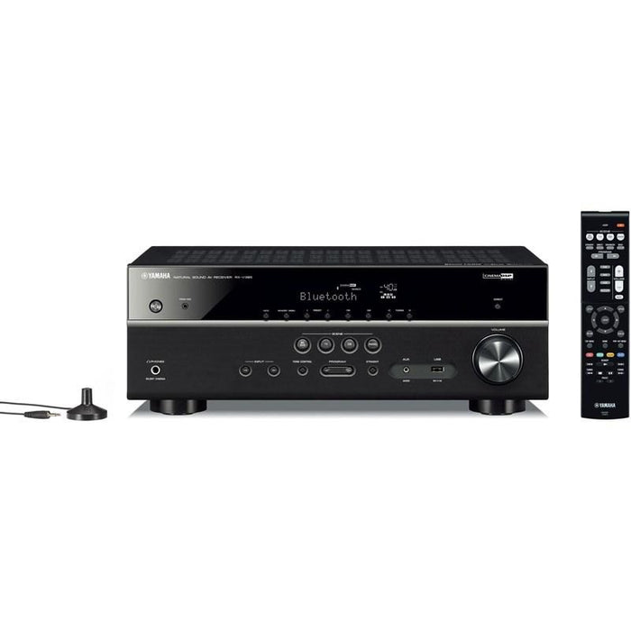 Yamaha RX-V385/5.1 ch AV receiver/black/front view with remote control and plug/SONXPLUS BAX audio video