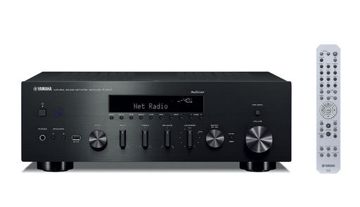 Yamaha R-N602/2 ch AV receiver/black/front view with remote control/SONXPLUS BAX audio video