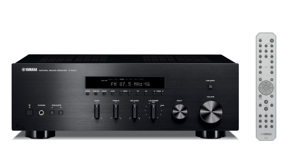 Yamaha R-S300/AM:FM receiver/black/front view with remote control/SONXPLUS BAX audio video