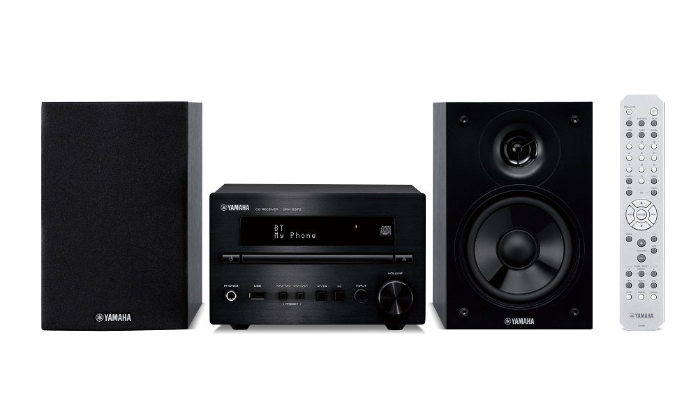 Yamaha MCR-B270/Hifi music system/black/front view with remote control/SONXPLUS BAX audio video