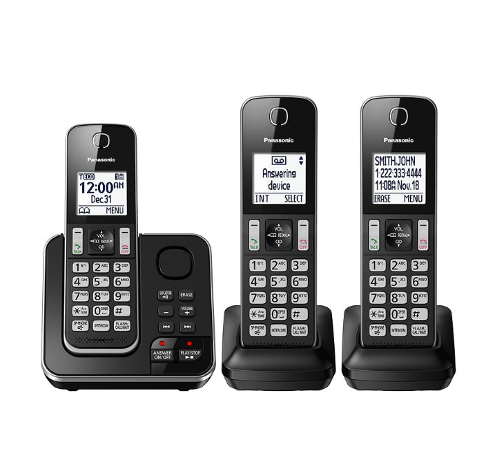 Panasonic KX-TGD393B | 3 Digital cordless handsets - recorder - Black