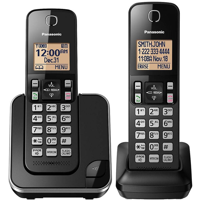 Panasonic KX-TGC382B | Cordless phone - 2 handsets - Black